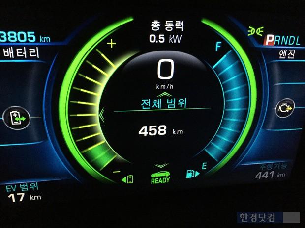 주행을 마친 후 계기판 클러스터에 표시된 EV 범위는 17km다.