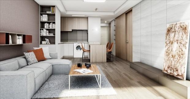 한미글로벌이 서울 서초구 방배동에 선보이는 '방배 마에스트로' 아파트 전용 35㎡ 거실. 한미글로벌 제공
