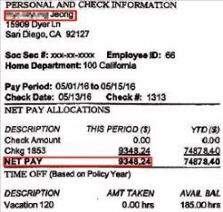 온코퍼레이션 미국 현지법인이 전 무역보험공사 부장인 정모씨에게 지난 5월  9348달러의 급여를 지급한 명세서.