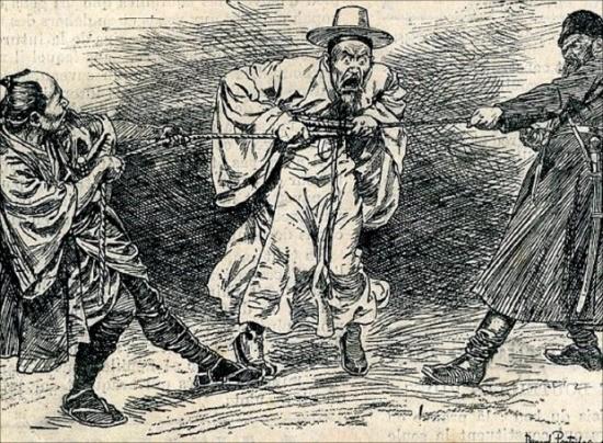 거인과 난쟁이의 전쟁(프랑스 신문 르 프티 파리지앵 Le Petit Parisien, 1904. 4. 3) 삽화