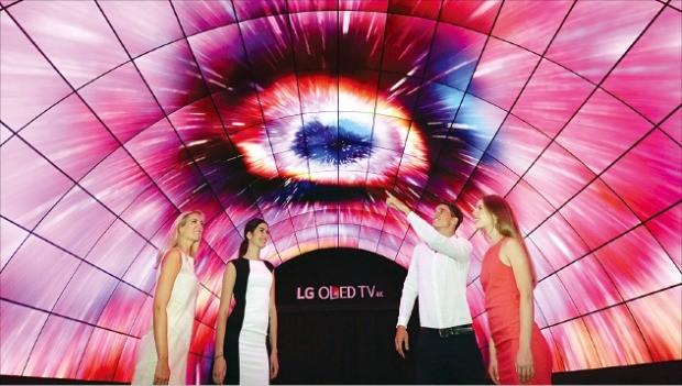 지난 8월 독일 베를린에서 열린 국제가전전시회(IFA)에서 관람객들이 OLED(유기발광다이오드) 패널로 만든 터널을 관람하고 있다.