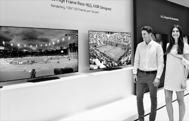 지난 9월 독일 베를린에서 열린 국제가전전시회 IFA 2016에서 관람객이 HDR 기술이 적용된 올레드TV를 살펴보고 있다. LG전자 제공