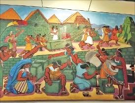 잉카인들의 석조기술 복원도.