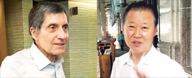 장일훈 북한 유엔주재 차석대사(오른쪽)와 조지프 디트라니 전 미국 6자회담 차석대표가 지난 22일 말레이시아 쿠알라룸푸르의 한 호텔 앞에서 기자들의 질문에 답하고 있다. 연합뉴스