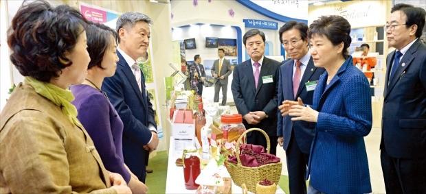 박근혜 대통령이 27일 부산 벡스코에서 '지방자치의 날' 기념식에 참석한 뒤 지방자치박람회 전시관을 찾아 서병수 부산시장(오른쪽) 등 관계자들과 얘기하고 있다. 강은구 기자 egkang@hankyung.com