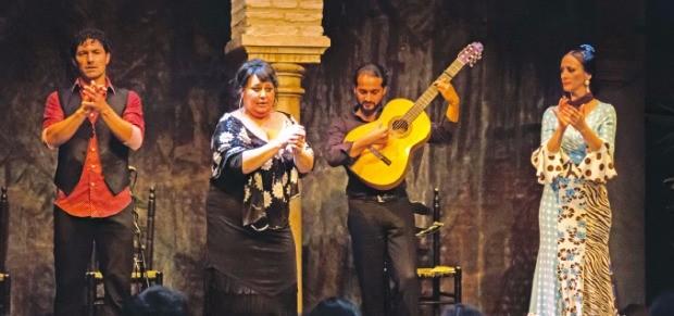 플라멩코 공연은 무용수, 가수, 기타 연주자가 한 팀을 이룬다.