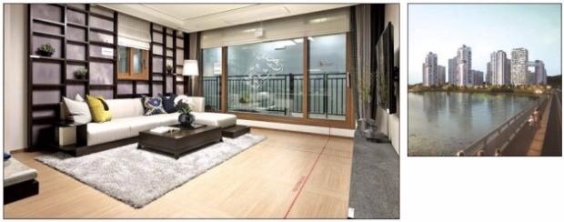 행정중심복합도시건설청의 설계공모를 통해 선정된 '캐슬앤파밀리에 디아트' 단지 조감도(오른쪽)와 54개 평면 중 하나인 한식(韓式) 스타일로 특화한 전용 96㎡ 거실 모습. 신동아건설  제공
