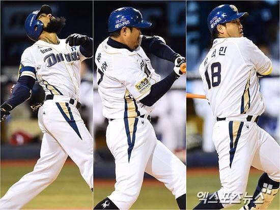 왼쪽부터 에릭 테임즈, 이호준, 박석민. 엑스포츠 제공