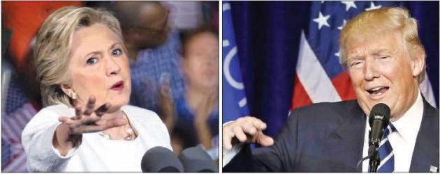 대통령 선거를 6일 앞두고 박빙의 승부를 벌이고 있는 힐러리 클린턴 민주당 대통령 후보(왼쪽)와 도널드 트럼프 미국 공화당 후보가 1일(현지시간) 플로리다주 남동부 도시인 포트로더데일과 위스콘신주 오클레어에 있는 위스콘신주립대에서 각각 유세를 하고 있다. 오클레어·포트로더데일AP·EPA연합뉴스