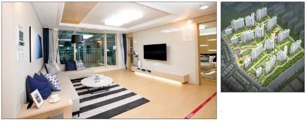 중흥건설이 화성 동탄2신도시에서 분양할 '중흥S-클래스 에듀하이' 전용 83㎡ 주택형 거실(왼쪽)과 단지 조감도. 중흥건설 제공
