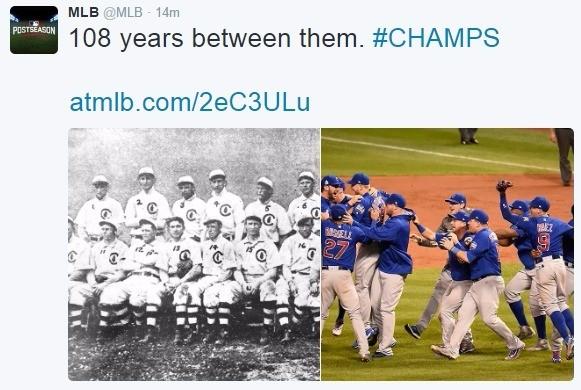시카고 컵스의 우승 소식을 전하는 MLB 트위터 캡처.