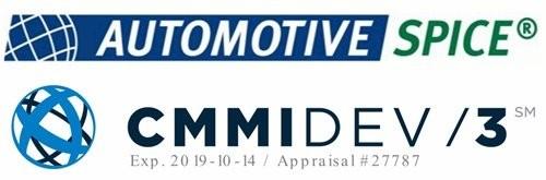 자동차 SW 프로세스 평가모델 'ASPICE' 및  국제 SW·프로젝트 역량 평가 모델 'CMMI' 로고