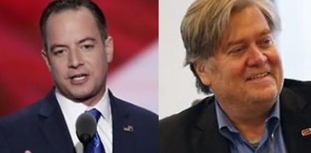 트럼프 정부의 초대 백악관 비서실장에 임명된 라인스 프리버스(사진 왼쪽)와 백악관 수석전략가로 발탁된 스티브 배넌(오른쪽)