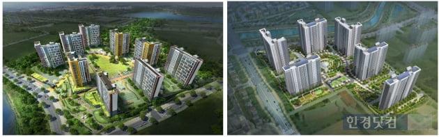 (왼쪽부터)금호산업의 '동탄2신도시 금호어울림 레이크2차와 )대우건설의 '평택 소사벌 푸르지오' 조감도.