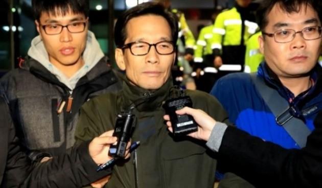 엘시티 시행사 실소유주인 이영복 회장이 서울에서 붙잡혀 부산지검으로 압송되는 모습. (사진 출처=YTN)