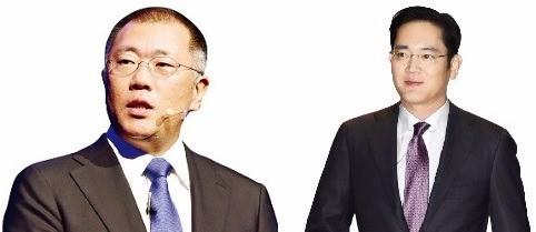 왼쪽부터 정의선 현대차 부회장과 이재용 삼성전자 부회장. / 한국경제DB