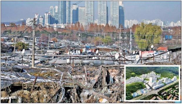 5년 만에 개발계획이 확정된 서울 강남의 대표적 판자촌 마을인 개포동 구룡마을. 임대와 분양아파트가 혼합된 '소셜 믹스' 단지로 개발될 예정이다. 작은 사진은 개발 후 투시도. 한경DB