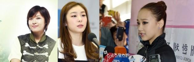 <사진 좌측부터: '길라임' 역을 맡았던 배우 하지원, 피겨여왕 김연아, 체조요정 손연재>