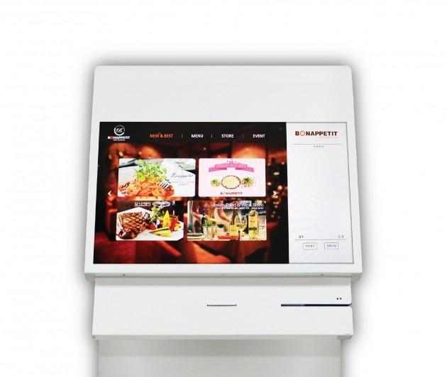 마이 카운터 제품 사진, 터치스크린과 결제시스템 및 스탠드로 구성돼 있다.