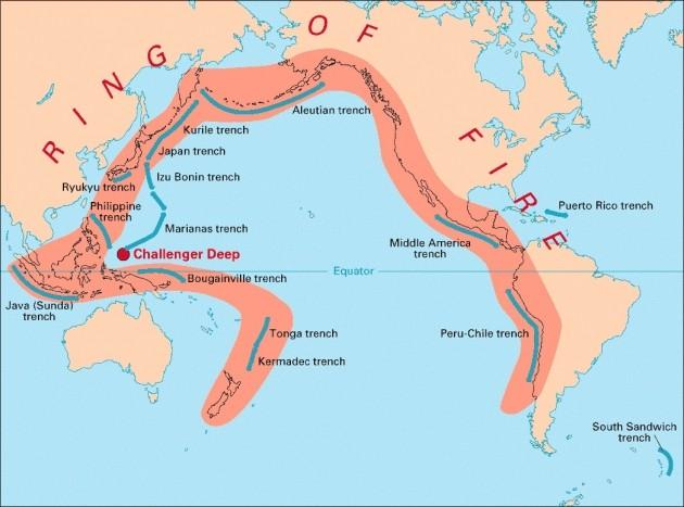환태평양 조산대는 일본·동남아·뉴질랜드 등 태평양 제도, 북미, 남미의 해안지역을 잇는 고리 모양의 지진·화산대다. 한경DB.