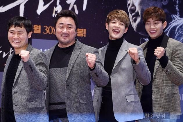 '두 남자' 이성태 감독(왼쪽부터), 마동석, 최민호, 김재영 /사진=최혁 기자