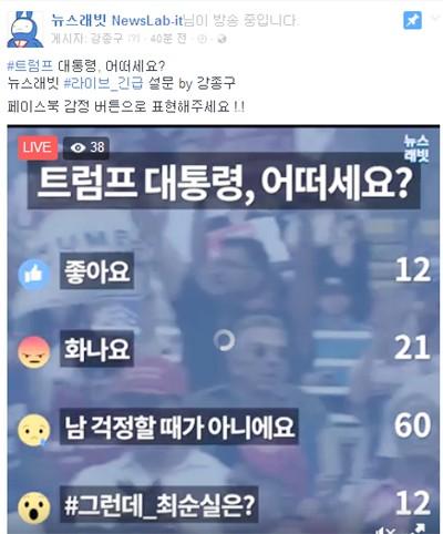 10일 뉴스래빗 페이스북 공식 계정에서 진행 중인 페이스북 라이브 설문 조사.