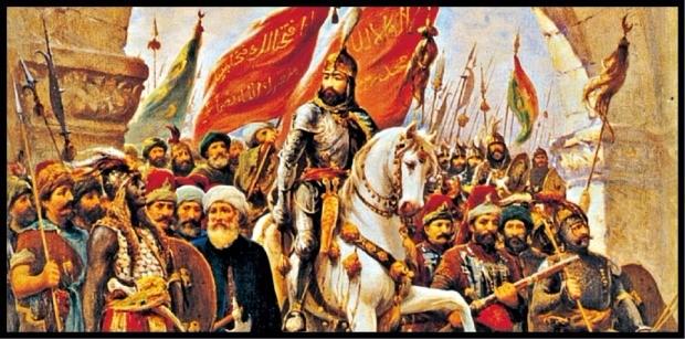 1453년 5월29일, 백마를 타고 성벽이 무너진 콘스탄티노플로 입성하는 술탄 메흐메드 2세. 오스만 궁정화가 파우스토조나로의 그림. 21세기북스 제공