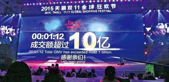 중국 온라인유통업체 알리바바가 작년 광군제 하루 동안 올린 매출은 912억위안(약 16조5000억원)에 달했다. 전년보다 60% 증가했다. 연합뉴스
