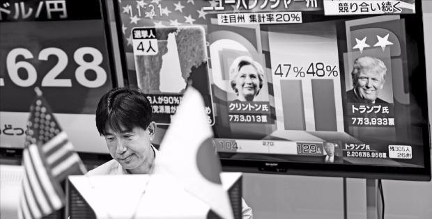 < 일본 증시 폭락 > 도널드 트럼프 미국 공화당 대통령 후보가 예상을 깨고 당선되자 아시아 주요국 증시가 일제히 폭락했다. 9일 일본 도쿄에 있는 한 증권회사 직원이 개표 방송을 들으며 모니터를 응시하고 있다. 도쿄AFP연합뉴스