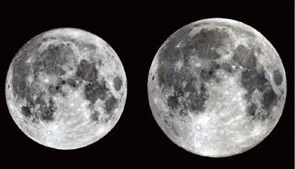 올해 가장 작은 달(4월22일)과 가장 큰 달(11월14일).