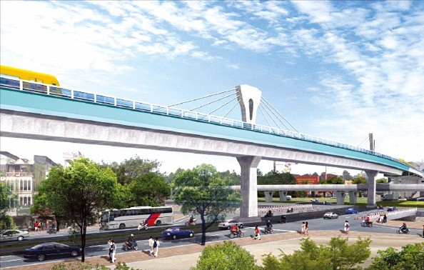 대림산업이 건설하고 있는 하노이 경전철 3호선.