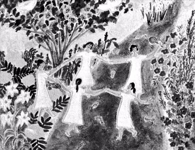 한국화가 이오성 씨가 서울 중림동 한경갤러리의 개인전에 출품한 '하바나길라'.