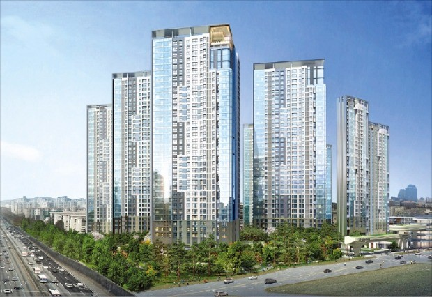 GS건설이 커튼월 룩 방식으로 시공할 예정인 서울 서초구 무지개 아파트(서초 그랑자이) 조감도