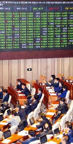 국회가 17일 본회의에서 '최순실 국정 농단 특검 법안'을 처리하고 있다. 신경훈 기자 khshin@hankyung.com