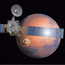 유럽우주국(ESA) 화성탐사선인 엑소마스를 구성하는 궤도선 트레이스 가스 오비터(왼쪽)와 착륙선 스키아파렐리(오른쪽)가 화성 궤도에서 분리하는 모습을 그린 상상도. 연합뉴스