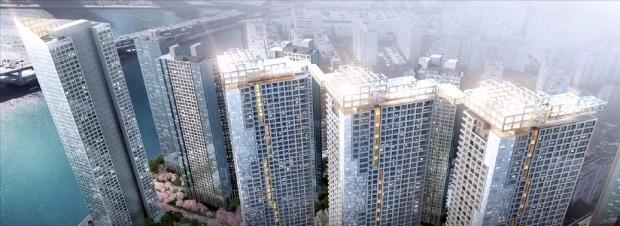 GS건설이 최근 부산 삼익비치아파트 재건축을 위해 제시한 60층 스카이 브리지 모습. GS건설 제공