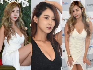 '위아래 홀랑 노출'…레이싱모델 파격 자태