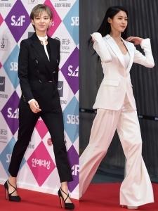 [PHOTOPIC] 정연-설현, '블랙&화이트 수트에도 예쁨~예쁨~'  (SBS 연예대상)
