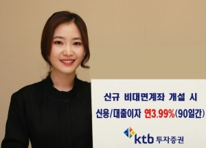 KTB투자증권, 신규 비대면계좌 고객 대출 시 연이자 3.99% 혜택