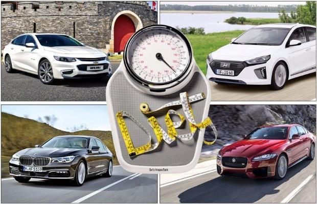 왼쪽 상단부터 시계 방향으로 한국GM 말리부, 현대차 아이오닉, 재규어 신형 XF, BMW 7시리즈
