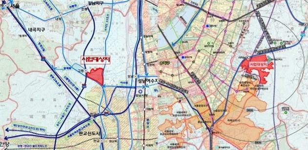 경기도 성남시 고등지구 사업대상지(사진 왼쪽)와 하남시 감일지구 사업대상지(오른쪽) 위치 지도.