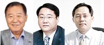 정상영 KCC 명예회장(왼쪽부터), 정몽진 회장, 정몽익 사장