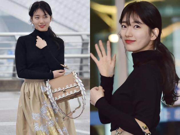 수지, '공항에서도 열일 중인 미모'