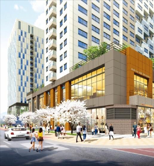 '마르쉐도르 960'(왼쪽)과 '아크로 스퀘어' 상업시설 투시도. 롯데건설·대림산업 제공
