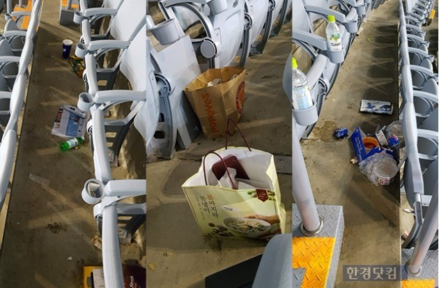 고척 스카이돔 관중석에 쓰레기들이 나뒹굴고 있다. 사진 전형진 기자