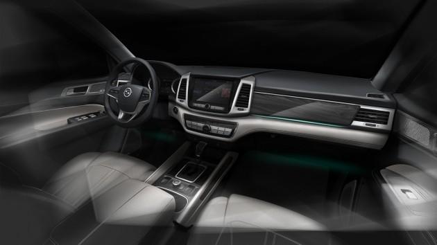 쌍용자동차 대형 SUV 'Y400'의 내부 렌더링 이미지