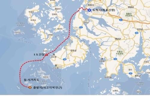 세월호를 실은 반잠수식 선박의 이동 경로. 해양수산부 제공