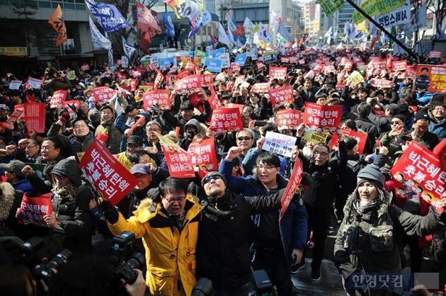박근혜 대통령 탄핵 심판 선고일 박근혜정권 퇴진 비상국민행동, 사진 / 최혁 기자 chokob@hankyung.com