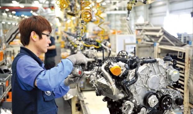 정치권이 근로시간 단축에 전격 합의함에 따라 인건비 부담이 크게 늘어나는 기업들은 반발하고 있다. 사진은 현대자동차 울산공장 생산라인. 한경DB