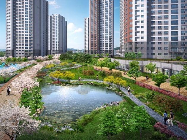 호암지구 우미린 에듀시티 단지 중앙에 조성될 예정인 수변공원. 우미건설 제공
